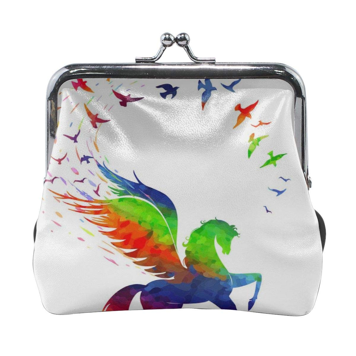 Poream Pegasus Concept Of Inspiration Rainbow Color Personalized Retro Leather Cute Classic Floral Coin Purse Clutch Pouch Wallet For Girls And Womens