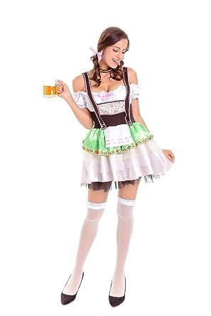 68c18b582c8c Women German Oktoberfest Beer Girl Costume Fancy Bavarian Bar Maid Dress