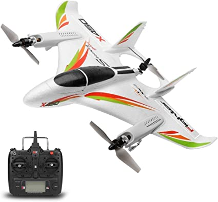 2.4G Remote Control 6 Channel Brushless Motor Aircraft Vertical Takeoff LED RC Glider Fixed Wing Plane RTF Toys Gift For Kids Gxscy XK X450 RC Airplane