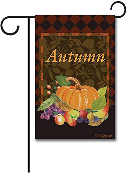 Amazon Com Kafepross Happy Harvest Pumpkin Fruit Decorative Thanksgiving Day Garden Flag Autumn Fall Argyle Decor Banner 12 5 X18 Print Both Sides Garden Outdoor