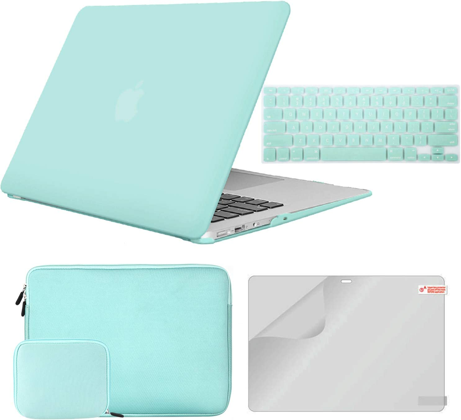 iCasso MacBook Air 13 Inch Case A1369/A1466 Bundle 4 in 1, Plastic Hard Shell Case, Sleeve, Screen Protector, Keyboard Cover and Small Pouch Compatible 2010-2017 Release MacBook Air 13'' - Mint Green