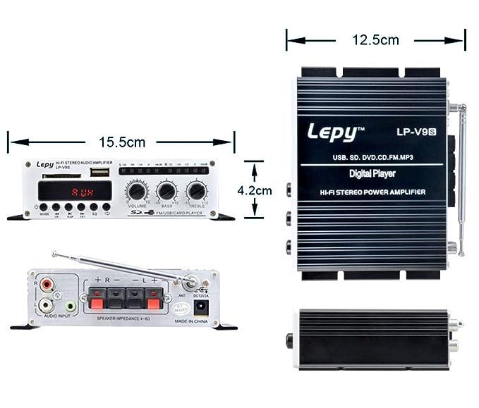 ONEU Mini Hi-Fi Amplificador, Multifuncional EstšŠreo Amplificador Audio, Bajo/Treble Ajuste Amplificador con Lector USB/SD/MMC, Pantalla LED Amp Radio FM ...