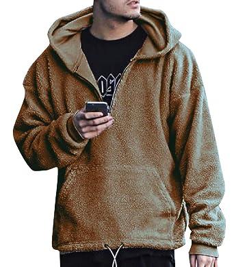 8f3daa161 Vinyst Mens Hooded Classic Fit Long Sleeve Shaggy Tunic Sweatshirts Light  Brown L