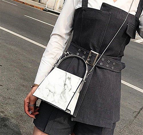 Las Cuadrado Moda Manera Diagonales De Moda Bolso Hombro Negro Pequeño Bao Cuero Personalidad La Mujeres White Bolsa ATxOXgnqw6