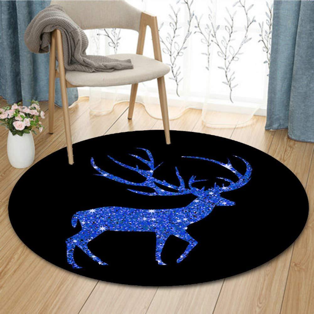 LYJ Teppich Kreative Runde Glänzende Rotwild Dekorative Teppich Home Wohnzimmer Schlafzimmer Studie Rutschfeste Matte B07LDK9CL4 Teppiche