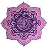 """Popular Handicrafts Large Round Lotus Flower Mandala Tapestry - 100% Cotton - Outdoor Beach Roundie - Hippie Gypsy Boho Throw Towel Tablecloth Wall Hanging Yoga/Picnic/Camping Mat - Pink Purple - 72"""""""
