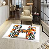 Letter H Floor Mat for kids Letter H Stacked from Gaming Balls Alphabet of Sports Theme Competition Activity Floor Mat Pattern 24''x48'' Multicolor