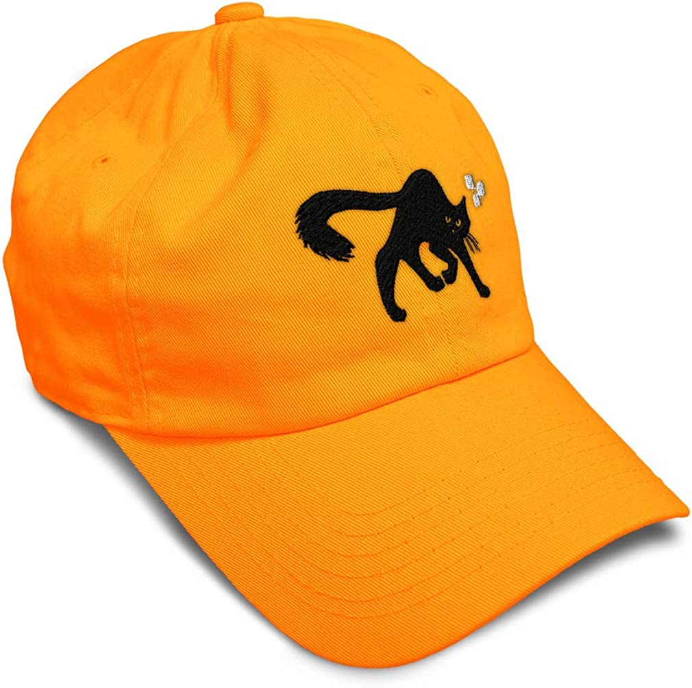 Custom Soft Baseball Cap Black Cat Embroidery Dad Hats for Men /& Women