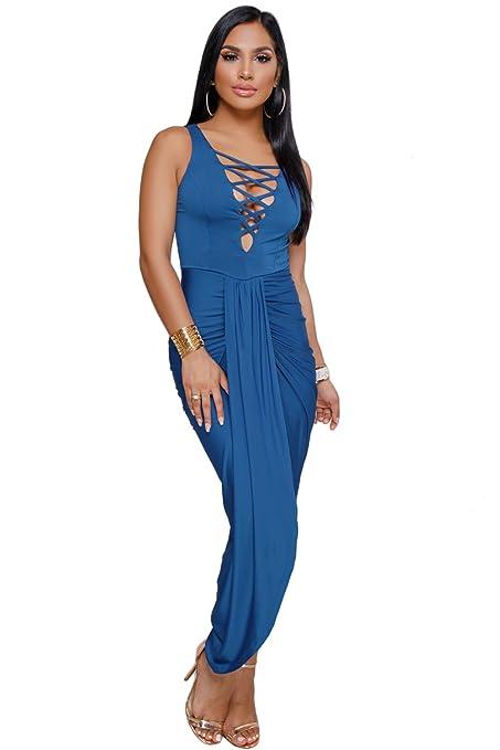 Vestido de fiesta sin mangas con cuello en V cruzado, color azul real, talla