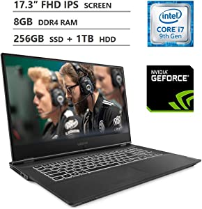 "Lenovo Legion Y540 Gaming Laptop, 17.3"" Full HD IPS Screen, Intel Core i7-9750H Processor, NVIDIA GeForce GTX 1650 Graphics, 8GB DDR4 RAM, 256GB SSD + 1TB HDD, Backlit Keyboard, Windows 10 Home, Black"