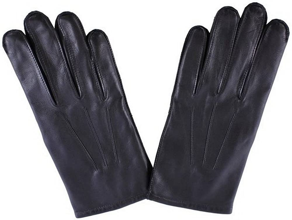 Black Dents Mens Cashmere Lined Plain Leather Gloves