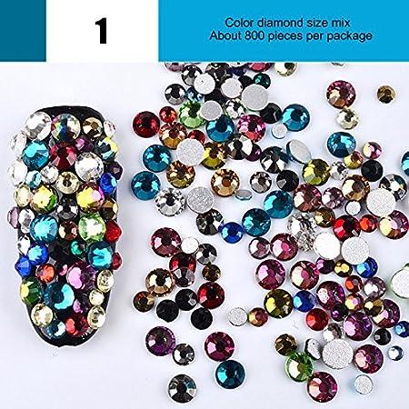 Wildlead 800 pezzi/confezione mix dimensioni unghie Crystal Clear AB non hotfix strass Flatback per 3D Nail Art Decor