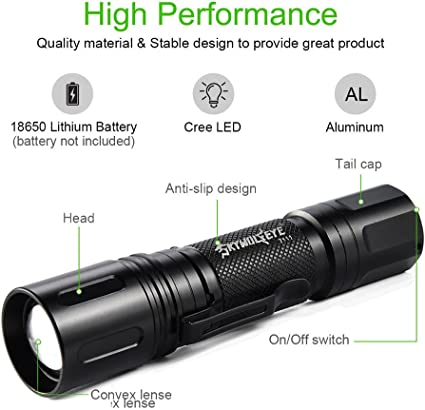 Zoomable 10000LM LED Torch CREE T6 3 Modes High Power Flashlight Torch Lamp