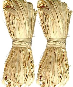 KINGLAKE 300 g Natural Raffia for Florist Bouquets Decoration Crafts Ribbon,Total 6 x 50g