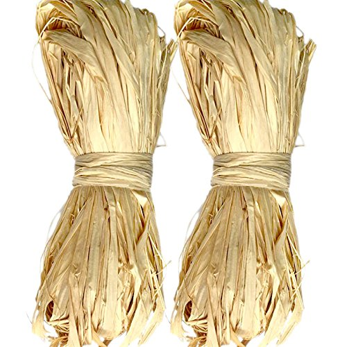 KINGLAKE Natural Raffia for Florist Bouquets Decoration Crafts Ribbon,Total 2 x 50g,Pack of 2