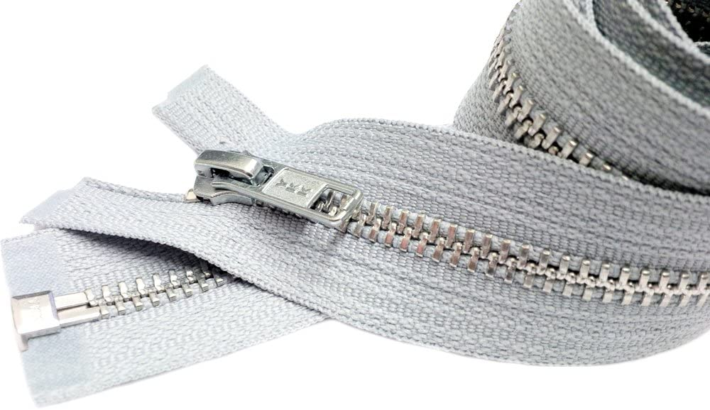 Gauge 5 Sale Wholesale Zippers Aluminum Metal Teeth Zippers 26 Inch Light Grey Silver Separating Jacket Zipper