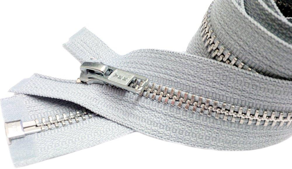YKK #5 Aluminum Metal Special Custom Medium Weight Separating Color Steel Grey 119 1 Zipper//pack Sale 26\ Jacket Zipper