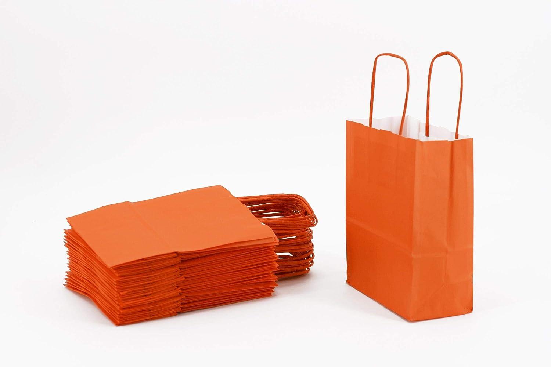 Lot de 25 sacs en papier avec poign/ée en papier kraft Orange 15 x 8 x 20 cm