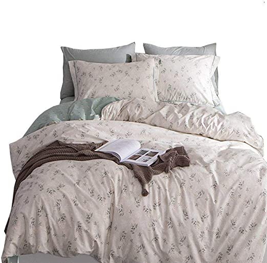 NEW Grey Floral Flowers Printed Reversible Bedding Duvet Set All Sizes