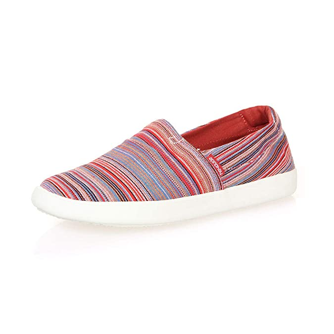 Dude Shoes Mujeres Carly Rojo Ibiza Lona Slip On: Amazon.es: Zapatos y complementos