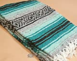 Authentic Mexican Blanket 47''x68'' -Traditional Woven Falsa Blanket for Yoga, Travel, Camping Rustic Southwest Style or Western Decor. (Sinaloa)