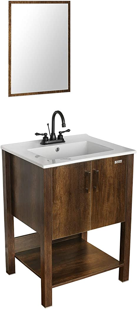 Amazon Com Eclife 24 Bathroom Vanity Sink Combo W Overflow White Drop In 3 Hole Ceramic Vessel Sink Top Brown Mdf Modern Bathroom Cabinet Orb Solid Brass Faucet Pop Up Drain