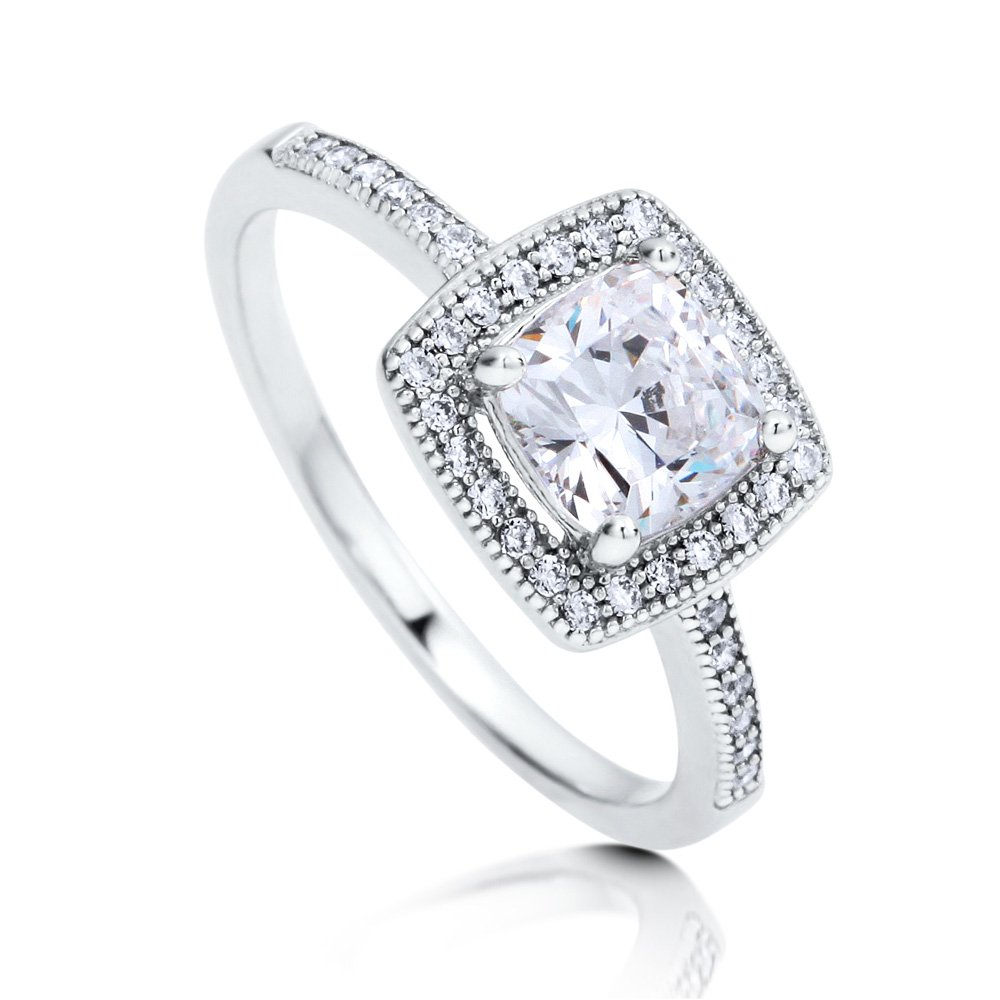 BERRICLE Rhodium Plated Sterling Silver Cubic Zirconia CZ Halo Promise Engagement Ring Size 6