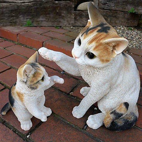 猫の置物 親子三毛猫2匹セット MK77QY キャット ガーデンオブジェ CAT 動物 オーナメント ネコ 雑貨 ガーデン オブジェ ガーデニング イ B078R4NJ51