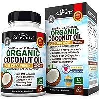 Aceite de coco orgánico - Piel sana, uñas, pérdida de peso, crecimiento del cabello - Virgen, prensado en frío, sin refinar Sin OGM - Rico en MCT MCFA - Función cerebral de apoyo, presión arterial, antienvejecimiento - 120 cápsulas blandas