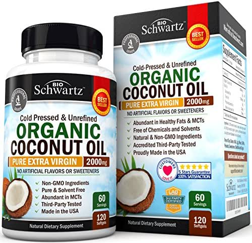 Organic Coconut Oil - Healthy Skin, Nails, Weight Loss, Hair Growth - Virgin, Cold Pressed, Unrefined Non GMO - Rich in MCT MCFA - Support Brain Function, Blood Pressure, Anti Aging – 120 softgels