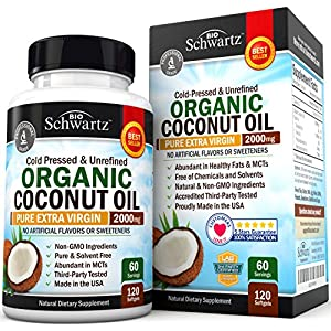 Organic Coconut Oil Healthy Skin, Nails, Weight Loss, Hair Growth Virgin, Cold Pressed, Unrefined Non GMO Rich in MCT MCFA Support Brain Function, Blood Pressure, Anti Aging – 120 softgels
