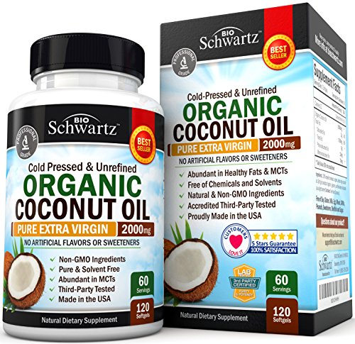 - Organic Coconut Oil - Healthy Skin, Nails, Weight Loss, Hair Growth - Virgin, Cold Pressed, Unrefined Non GMO - Rich in MCT MCFA - Support Brain Function, Blood Pressure, Anti Aging - 120 softgels