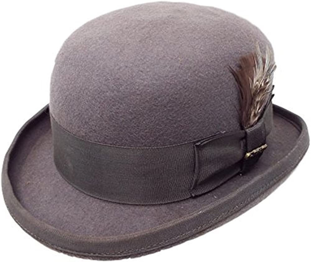 Bellmora One Fresh Classic Bowler Derby 100/% Wool Dress Folk Curled Brim Hat