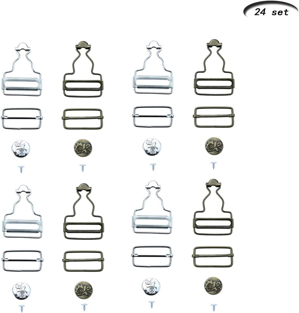 Heatoe 24 Sets Overalls Buttoned Hooking Buckles Gourd Buckles Suspenders Adjustable Buckle Overalls Suspenders Replacement Buckles with Rectangle Buckle Sliding /& No-Sew Buttons