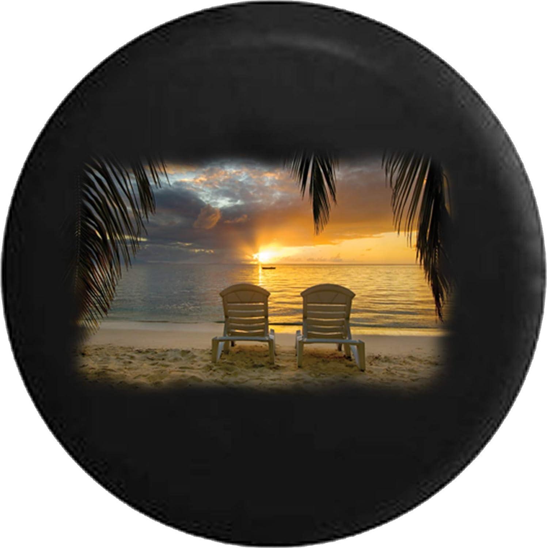 BI HomeDecor Spare Tire Cover,Sillas De Playa En The Sun Rise Cool Sandy Beach Cubiertas De Llantas Personalizadas para Ruedas De Camionetas SUV,80-83cm