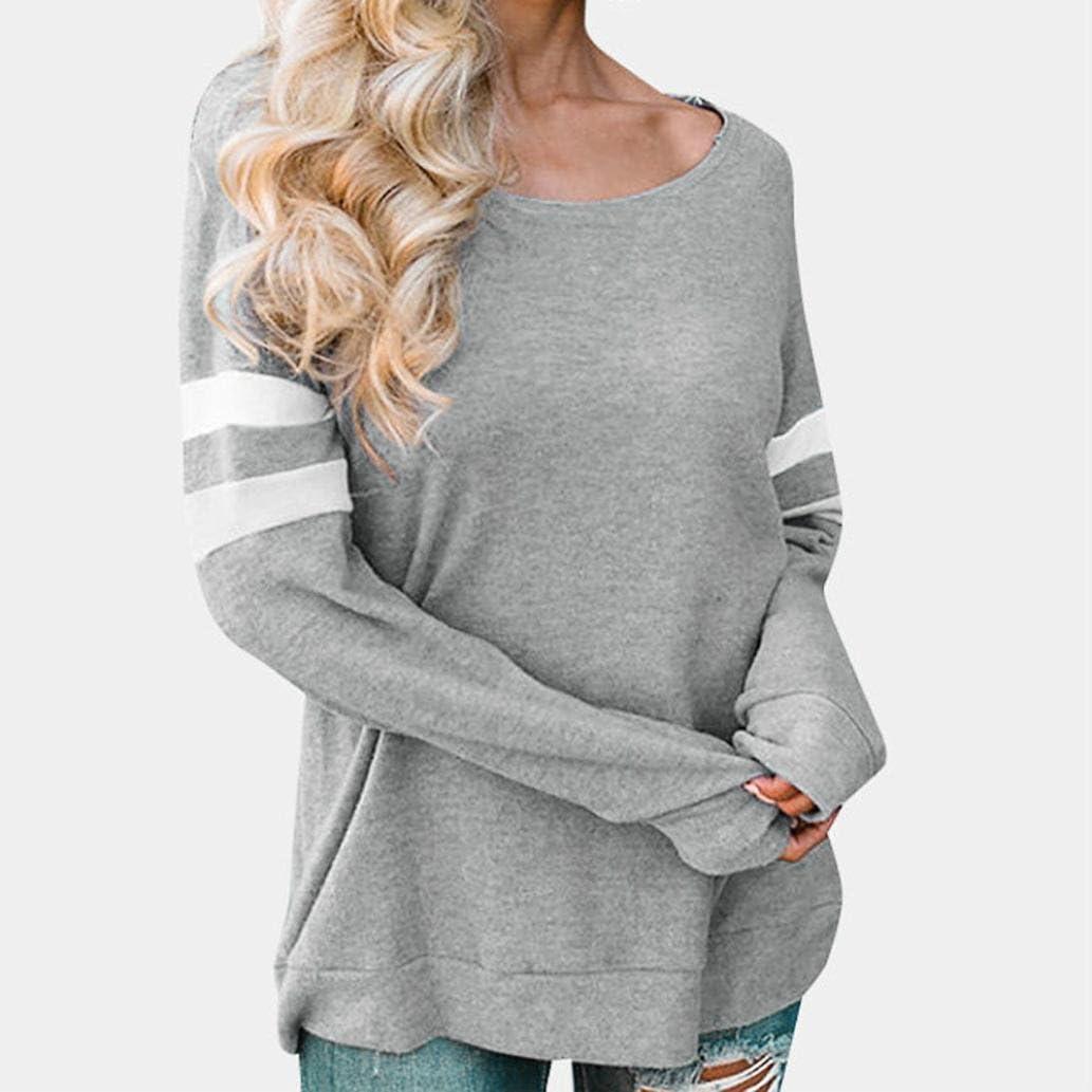 YANG-YI Fashion Womens Long Sleeve Splice Blouse O-Neck Tops T-Shirt