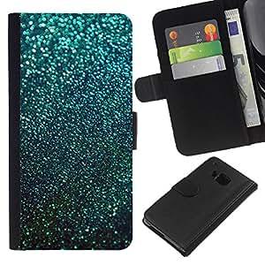For HTC One M9 Case , Teal Snow Winter Stars Abstract - la tarjeta de Crédito Slots PU Funda de cuero Monedero caso cubierta de piel