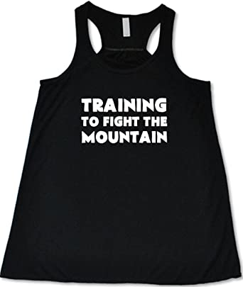 578f2163d4366 Amazon.com  Women s Training To Fight The Mountain Tank Top - Workout  Shirt  Clothing