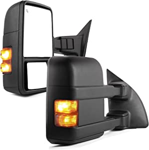 YITAMOTOR Towing Mirrors Compatible with 99-07 Ford F250/F350/F450/F550 Super Duty, 01-05 Excursion Extendable Smoke Power Heated with Signal Light