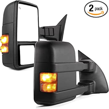 Power Heated Orange Signal Towing Side Mirrors Pair For 08-16 Ford Super Duty
