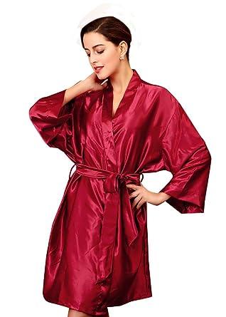 NiSeng mujer albornoces baño satín manga larga bata de baño cinturón vestido de noche Rojo Vino Talla única: Amazon.es: Ropa y accesorios
