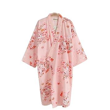 HUIFANG Primavera Verano Y Otoño Damas Kimono Camisón Japonés Flor De Cerezo Algodón Gasa Batas De Baño Finas (Color : Pink, Tamaño : L): Amazon.es: Hogar