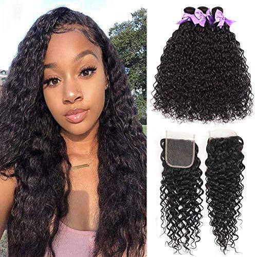 8A Brazilian Virgin Human Hair Water Wave Bundles With 4inch x 4inch Lace Closure 100% Human Hair (14 16 18+12 closure, free part) Wet and Wavy Bundles With Closure Can Dyed Natural Color Laritaiya