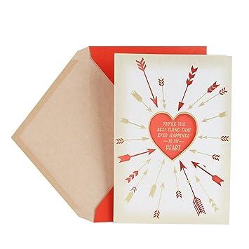 hallmark valentines day greeting card for romantic partner arrows around heart