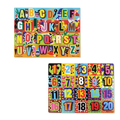 (Melissa & Doug Wooden Chunky Puzzles Set - Alphabet and Numbers)
