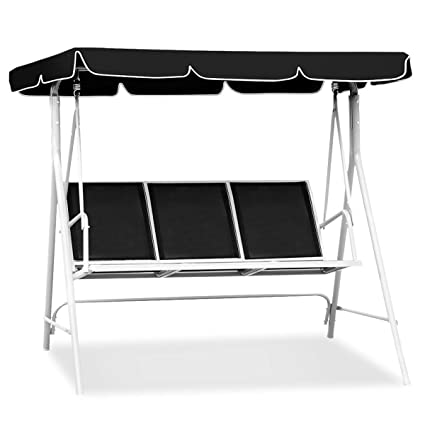 Awesome Tangkula 3 Person Patio Deck Swing Chair Bench W Canopy Outdoor Sling Chair Weather Resistant Powder Finish Black Pabps2019 Chair Design Images Pabps2019Com