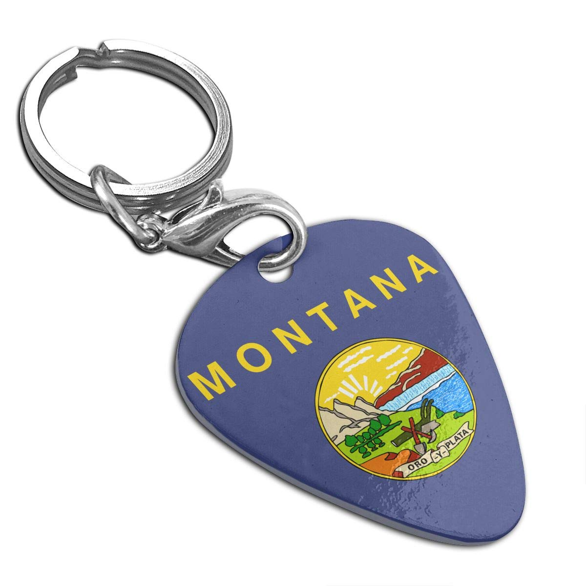 Flag Of Montana Guitar Pick Necklace Unique Custom Fashion Pet Card Keychain