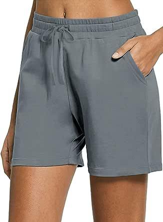 Gracyoga Women's Lounge Bermuda Shorts Activewear Gym Jogger Yoga Sweat Shorts Jersey Walking Above Knit Shorts with Pockets