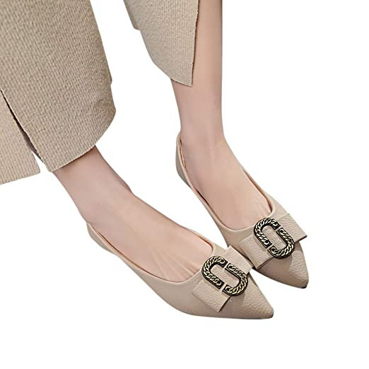 10377efe Image Unavailable. Image not available for. Color: 2019 Spring Women  Classic Soft Pointed Toe Flat Heel Casual PU Leather Ballet Loafers Single  Shoes