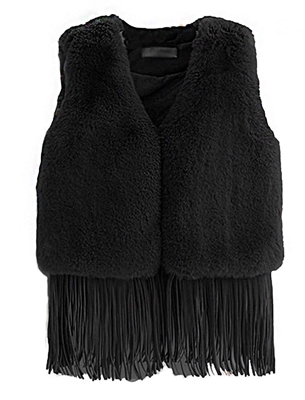 21KIDS Girls Boys Hippie Tassel Vest Cowgirl Fringed Faux Suede Jacket Kids Fur Gilet Waistcoat 42159-S6140-FoxBlack-4T